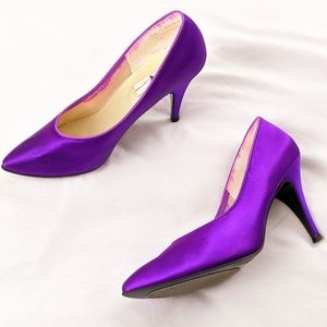 VTG Bright Purple Shiny Pointed Toe Pump Heels